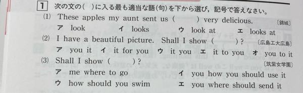 高校受験の英語についてです。 下の問題の(1)の答えがなんでlooksじゃなくて lookなんですか?