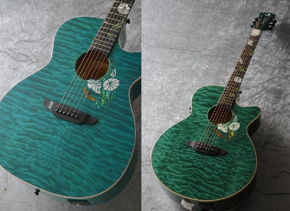 ルナ・ギターについて教えて下さい。 (画像左)Luna Guitars Flora Moonflower A/E-Trans Mallard [FLO MOON CUST](画像右)Luna G...