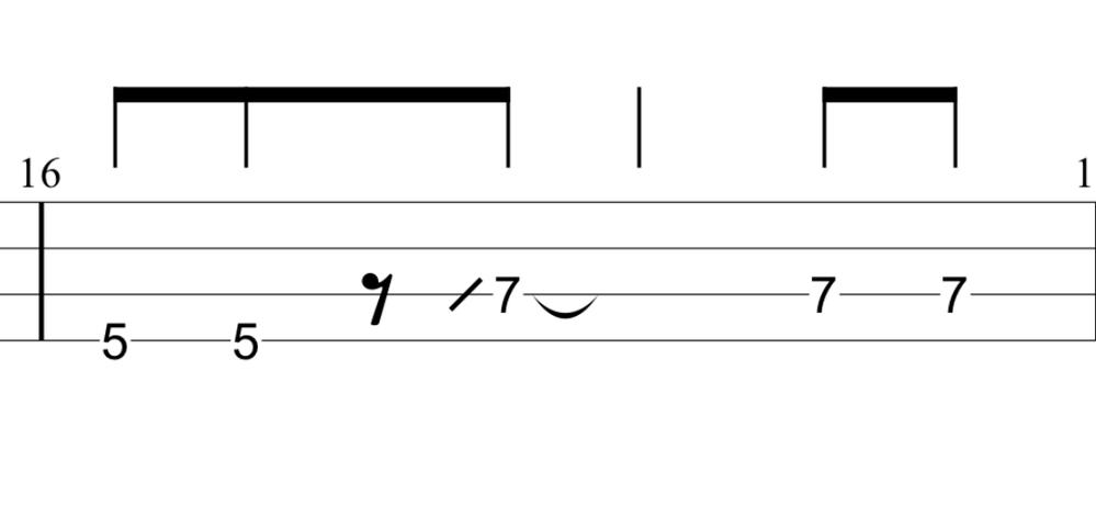 ベース初心者です。 現在ないものねだりを練習しているのですがTAB譜を見ていてどうしても弾き方が分からないところがあります。 画像の部分です。 ハンマリングやプリング、スライドなどの記号は一応知識として覚えたのですが、この部分はどのように弾けばいいのでしょうか?