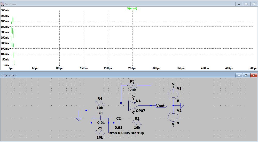 LTspiceでウィーンブリッジ発振回路のシミュレーションをしているのですがうまくいきません. 最終的には500kHzの発振回路を制作したいのですが,定数の決め方がわからなくて困っています. 試しに発振条件と発振周波数を http://www.rlc.gr.jp/project/e_circuit/analog/opamp/wien_bridge/genri/genri.htm このサイトにあるよう適当に設定したのですがうまく発振してくれません. また,数値をいろいろと変えて,発振しても計算した発振周波数と大きくずれてしまいます. 初心者ですがわかる方教えていただけると嬉しいです.