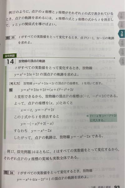 数Ⅱの軌跡を教えて下さい! 問題は問35と36です。解説付きでお願いいたします。