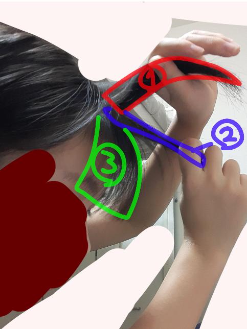 前髪薄くしようとしているのですが、②の部分を全部根元から切るのはおかしおですか?
