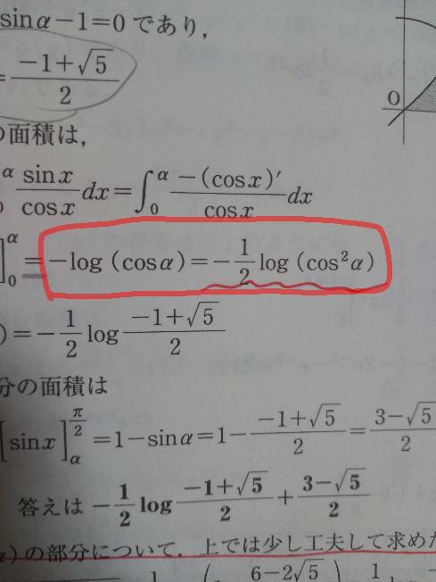 一対一対応数3微積編積分法(面積)4番の問題なんですが囲った部分の変形が分かりません。教えていただきたいです。
