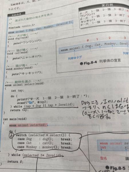 この写真の最後の int main (void) [ enum animal selected do[ switch(selected=select()) [ case Dog : ...