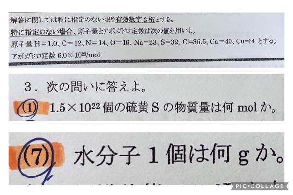 高校一年 化学基礎 物質量 の問題です。 写真の二つの問題の解き方を解説してほしいです。 答えは、⑴が2.5×10の2乗 mol ⑺が3.0×10の−23乗 gです。