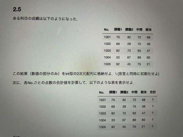 学校のc言語の課題です誰か教えてくれませんか。