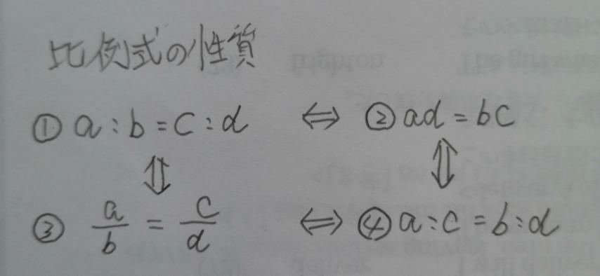 比例式の性質についてお尋ねします。 ①⇔④、②⇔③ はそれぞれ成立するのでしょうか。 また、これらは対偶?になるのでしょうか。
