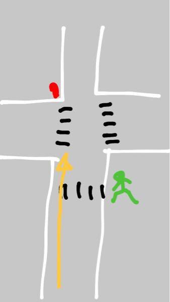 自転車についての質問です ・黒い線は横断歩道です ・赤い丸は赤信号 ・緑の人型は青信号です ・黄色い矢印方向に進みたいです 緑色の人マークの部分の信号が青の時自転車は黄色い矢印方向に横断してはいけませんか? ちなみに両脇には歩行者用の道がありその横に自転車用の道?みたいなのがあります すっごく分かりずらくてすいません ♂️