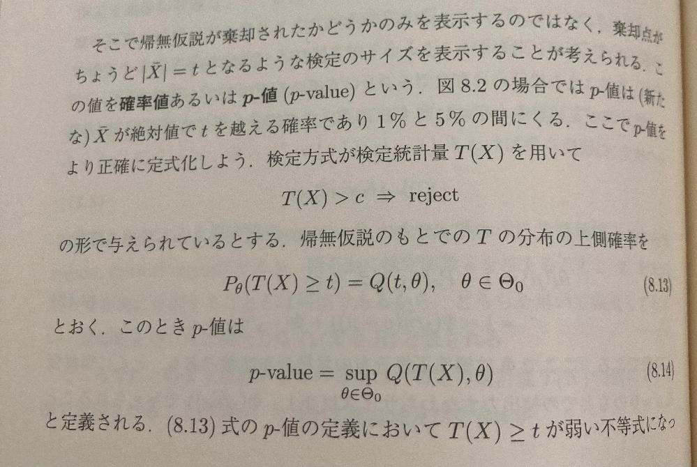 竹村先生の現代数理統計学について質問です。 写真にあるように168ページのp値の定義でsup Q(T(X),θ)と書かれているのですが、Q(t,θ)はPθ(t≦T(X))と定義されているのでQ(T(X),θ)はPθ(T(X)≦T(X))となってしまわないでしょうか。ここは誤植でしょうか?よろしくお願いします。