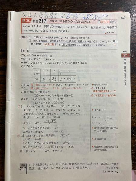 数学が得意な方に質問です! この問題の場合わけについて、なぜこの場合わけをしているのか、解説していただけませんか?
