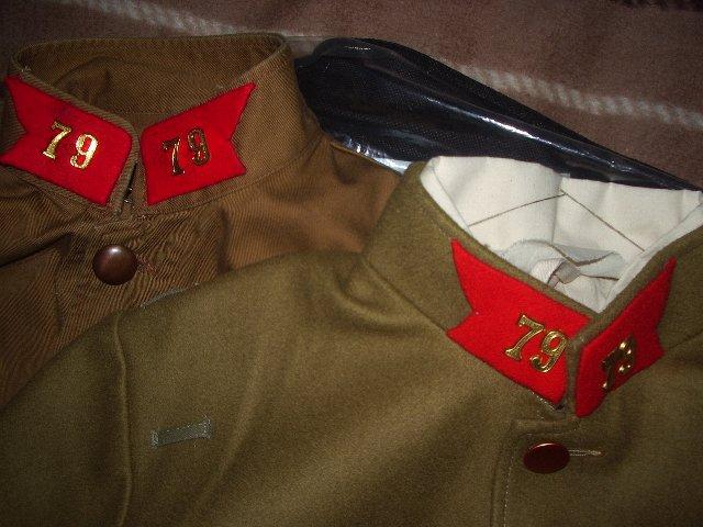 質問です。このタイプの日本軍の襟章(兵科章)の縫い方を教えてください)