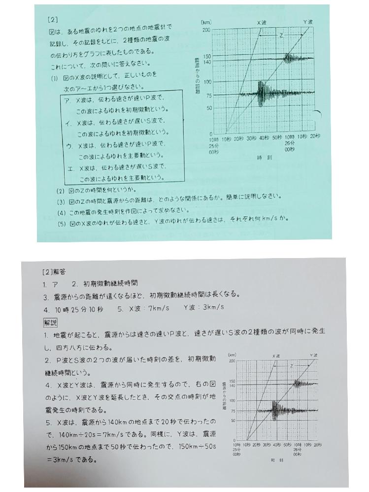 大至急お願いします。中1理科、地震の計算です。【5】の、Y波の、ゆれの速さを求める計算で、距離が、何故150になるのか分かりません。どなたか教えて下さい。よろしくお願いします。