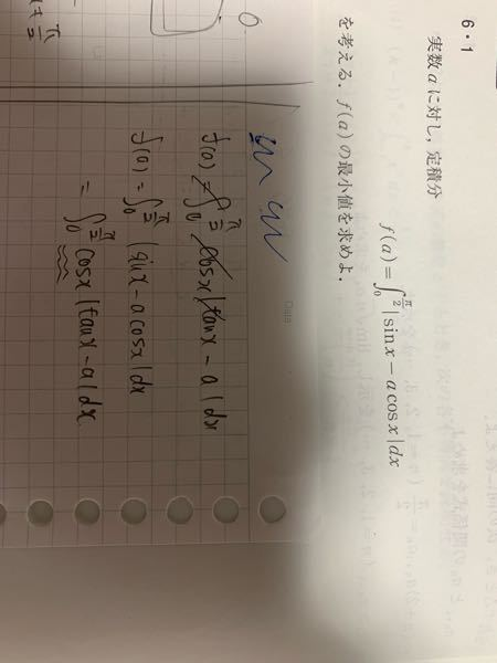 積分区間が0<=x<=π/2で、このようにcosxで括って絶対値の中身を基本関数の差で表したのですが間違った式変でしょうか? また、これだと0<=x<π/2で積分することになるのでしょうか?