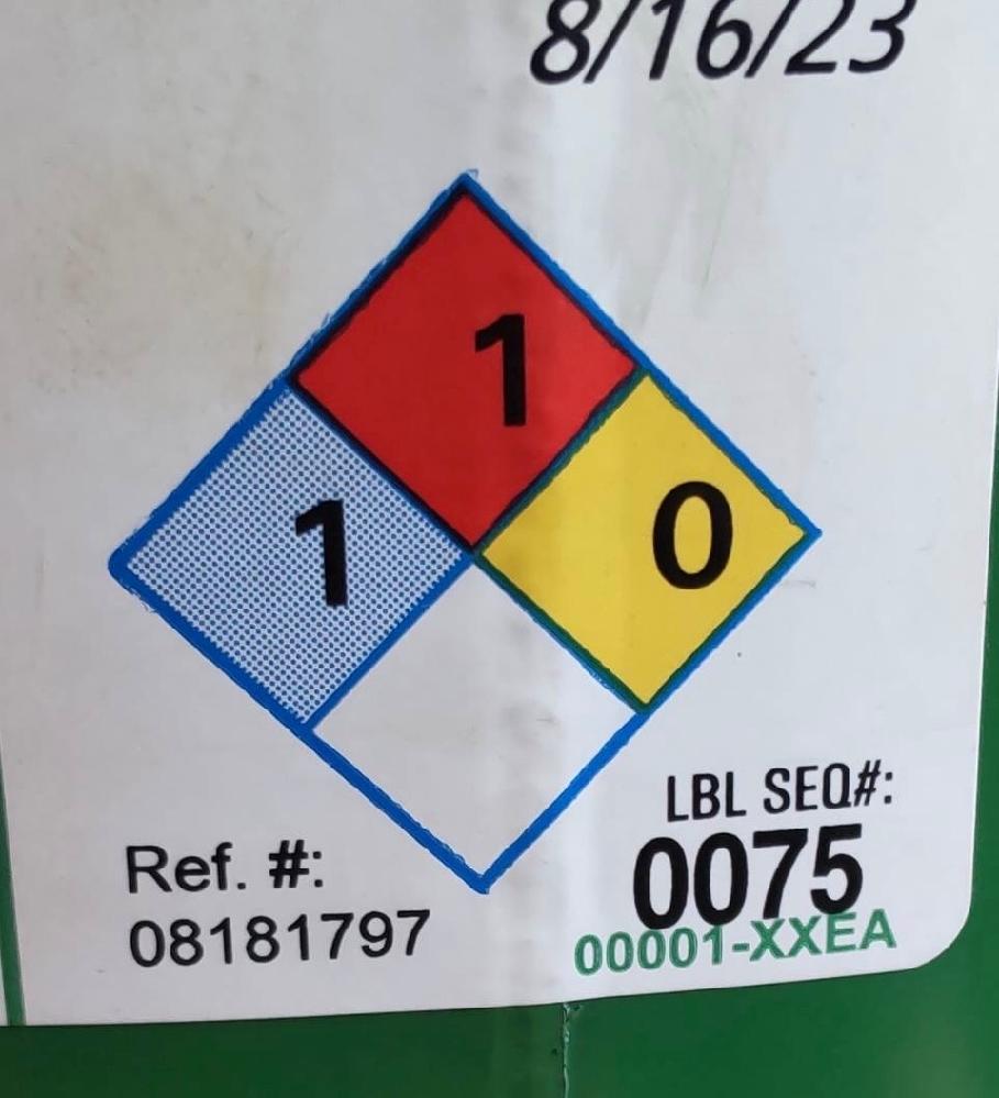 添付画像について質問させていたたきます。 赤、青、黄色と数字がありますが、おそらく日本でいう第四類第三石油類とかそういったものだとは思うのですが、見方や意味を教えてください。 よろしくお願いします