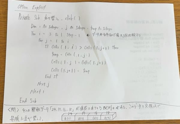至急お願いします。 i j はどこを表してるのですか? temp とは何ですか? for j=1 to iから下を説明してほしいです。 全くわかりません。大変かと思いますが誰かよろしくお願いします。