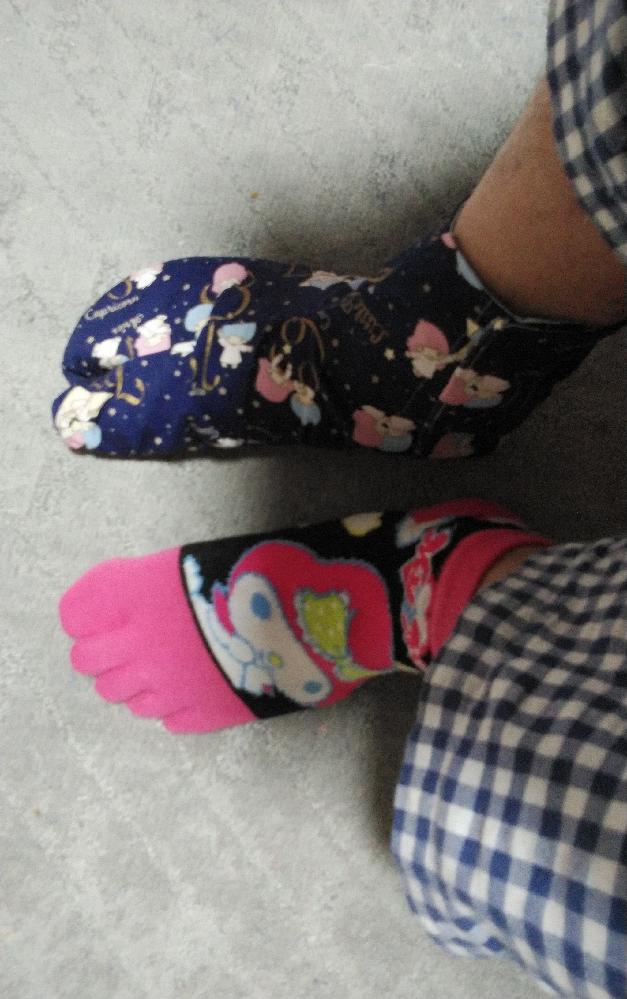 足もとを画像の格好でイオンとかのショッピングモールの中限定なら歩いてもあれば安全でしょうか? マイメロの5本指の靴下と自身で型紙製作から縫製まで完全自作したキキララのオックス生地で仕立てた足袋を履いてイオンとかのショッピングモールの中限定であれば歩いても安全でしょうか?画像のキキララのオックス生地で仕立てた足袋ですが、底を2枚で仕立てています。2枚ともやや薄手の接着芯を貼り付けた程度の耐久性です。でも、イオンとかのショッピングモールの中限定であれば歩いても安全でしょうか?イオンとかのショッピングモールの中では、ガラス片や金属片とかの危険な物質が落ちていることはあるのでしょうか?常に店員や専属の清掃員が掃除しているので安全だと思いますが、現実はどうでしょうか?仮に、マイメロの5本指と底を2枚で仕立てた足袋の状態で、金属片とかガラス片を誤って踏んづけてしまったらさすがに怪我が怖いですが、イオンとかのショッピングモールの中限定であれば画像のように、マイメロの5本指の靴下の上にキキララのオックス生地で底を2枚で仕立てた足袋を履いて歩いても安全でしょうか?