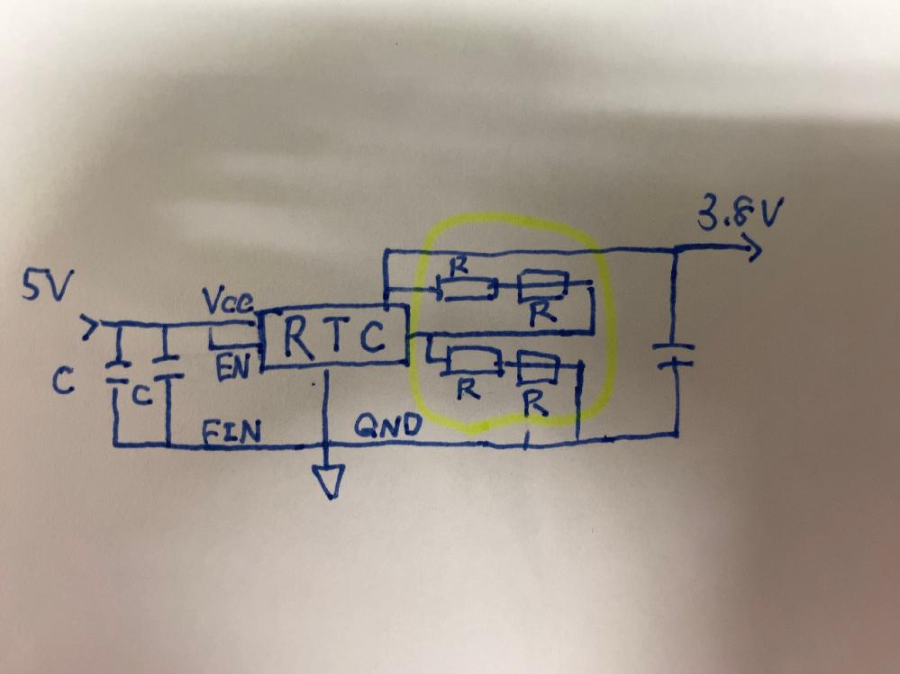 写真の回路図についての質問です 右部分に2種類の抵抗が直列でつながっておりますが,中に線が入っているタイプの抵抗の名称がわかりません。知ってる方教えて欲しいです。 ざっくりとした回路図なのでわからない点があれば質問していただけると回答いたします!