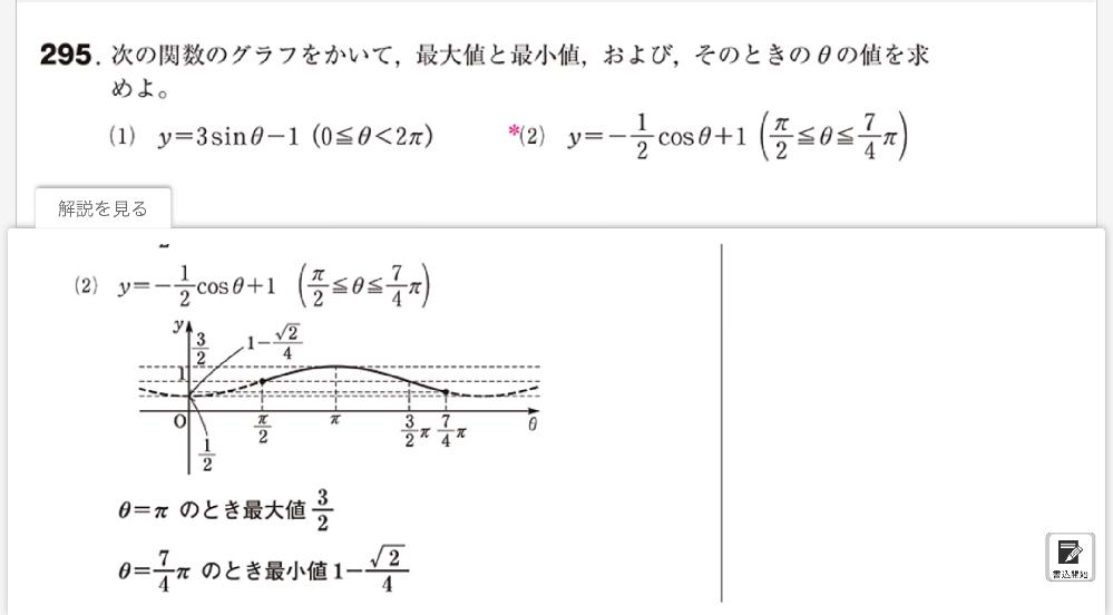 こちらの三角関数のグラフ問題⑵の最小値の値の出し方がわかりません。 詳しく教えて頂きたいです。
