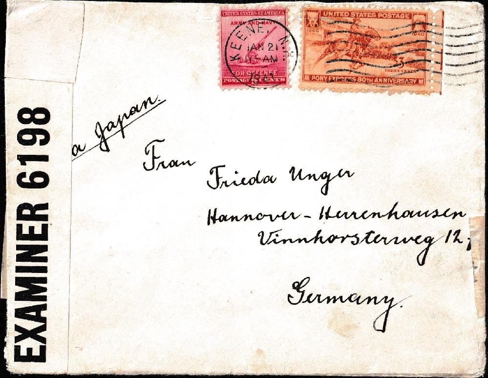 これは1941年にドイツへ送られた郵便封筒です。ドイツの住所を教えてください。