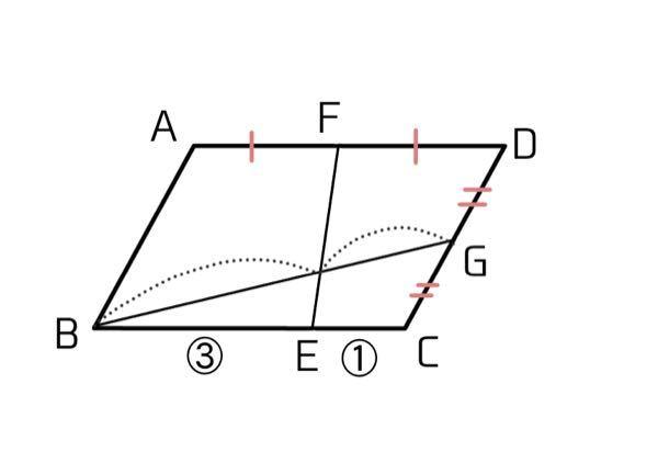 数学中3 相似の問題教えてください! 点線のところの比を求めろ という問題です BE:GE=3:1です