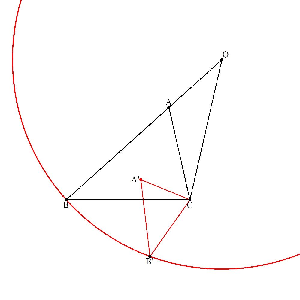 △ABCで辺BAの延長上に ∠BCO=180°-∠ACB となる点Oがあります。 点Oを中心として半径OBの円周上の任意の点をB'とし △A'B'C∽△ABC となる点A'をとります。 このとき、 AB=AB' となることを証明してください。 (創作問題110)