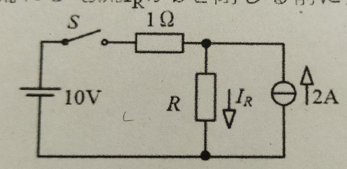 電気回路の問題です。 こちらの問題が、分からないので教えていただけますでしょうか。 スイッチSを閉じたとき、抵抗Rに流れる電流I_RがSを閉じる前に比べて2倍になった。Rの値を求めよ。 宜しくお願い致します。