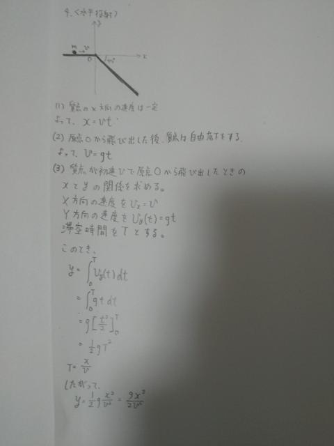 高校物理について質問させていただきます。 (3)原点Oから飛び出した際の軌道方程式、すなわちyをxの関数とした式を導け。 という問題で、速度vを時刻tで積分したらyとxの関係式をつくれると考えて解いたんですけど、答えに-がつかなくて混乱してます。 どこでマイナスが付くか教えてくださるかたいませんか?
