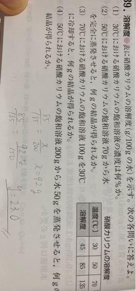 化学基礎です。 至急お願いします! 写真の(4)についてです。 答えは43gなんですが、あいません。 わたしの解法は手書きでそこにかいてあります。 なぜ違うのか教えてください。