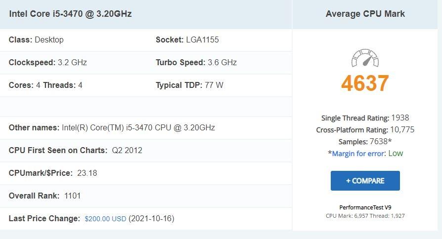 PCのハイスペック化について CPUの性能の比較 何年か前のIntel Core i5が低評価でした。 https://www.cpubenchmark.net/cpu.php?cpu=Intel+Core+i5-3470+%40+3.20GHz&id=822 Average CPU Mark 「4637」でした。 やってることは10年前、5年前とそんなに変わらないのに。 なんで古いPCとか言われちゃうんですか? どうして、そんなに精密、集約、大容量化が必要なんでしょうか? いつも高いPCを買わされているような気がしちゃうんですけど。 10年前のPCじゃダメなの?