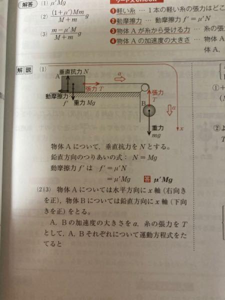 (1)の垂直抗力(N)のところが重力(Mg)になる理由がわからないです