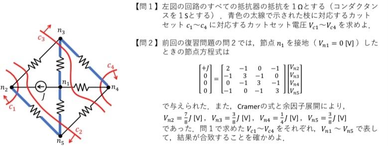 この問題の問1が分かりません。 カットセット方程式を立てて解くのでしょうか? よくわかりません。 わかる方詳しく解説お願いします。