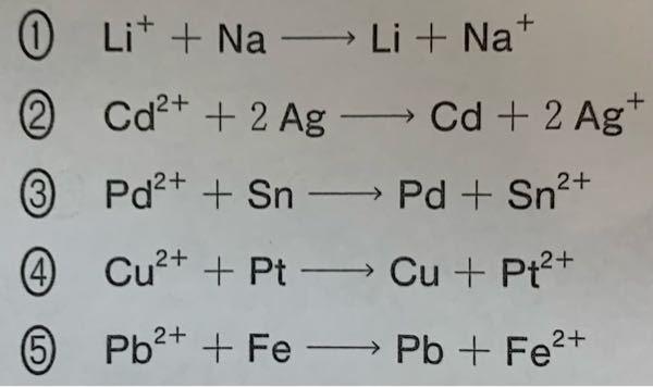 自発的に進む可能性のある酸化還元反応を2つ選んでください。できれば理由もお願いします。