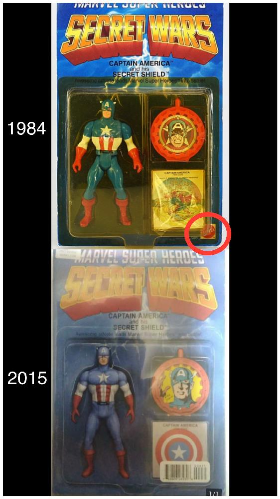 マーベルコミックの「シークレット・ウォーズ」の2015年のコミックのフィギュア ヴァリアント カバーについて質問です。 このフィギュア自体、見た感じは1984年にマテルから発売された「マーベルスーパーヒーローズ シークレットウォーズ」のフィギュアとほぼ同じ様なパッケージですが、よくよく見ると細部のディテールや付属のバッヂのデザインなどが少々違っており、1984年のフィギュアには製造メーカーであるマテルのロゴがブリスターの台紙に入っているのですが(画像1984年フィギュア・赤丸参照)、2015年のフィギュアの方にはメーカーロゴが見当たりません。 2015年製は1984年製フィギュアを模して、単にオマージュしただけのものだったのでしょうか? どのような経緯で2015年シークレット・ウォーズのコミックに、この1984年製を模したフィギュアを付属させる事になったのでしょうか? それから、2015年製のフィギュアの製造メーカーはどこですか? 詳しく詳細をご存知の方いらっしゃいましたら教えて下さい。