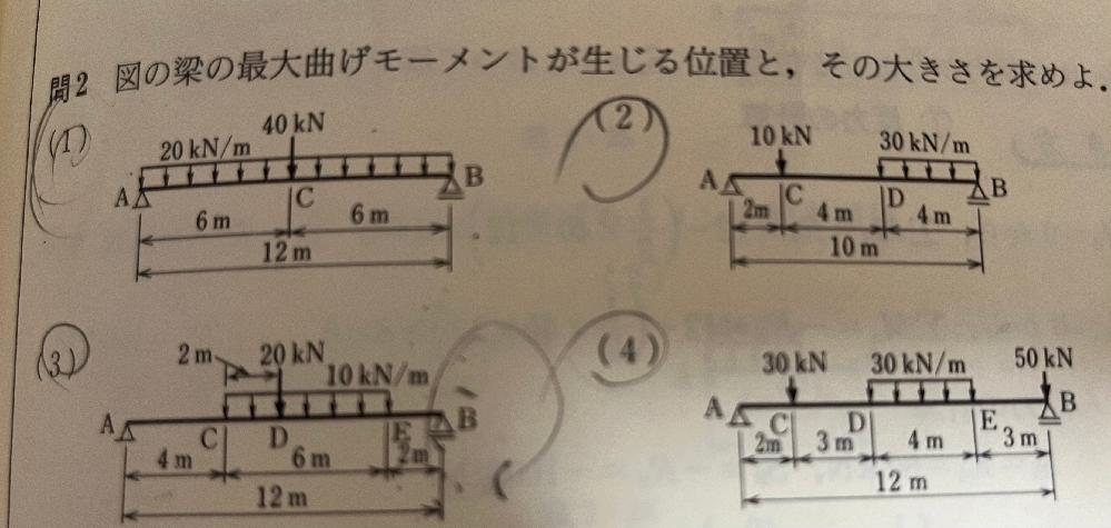 2.3.4の最大曲げモーメントが生じる位置の求め方が分かりません。答えは2番が0.73m 3番が2m、4番が1.5mになります 誰か分かる方いたら教えてください。