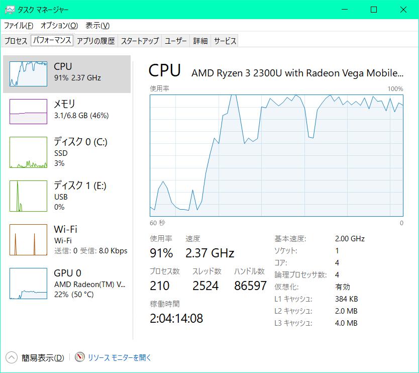 ノートパソコンのメモリを増設したいと思っているのですが、LIFEBOOK A43/D3のメモリの型番はDDR4-2400で合っていますか? また、DDR4-2400とPC4-19200は同じものですか? 現在4GB×2の計8GBで、動画編集中にその動画を再生するとかなり粗いコマ送りになります 1TBの外付けHDDは持っているのですが、それに編集ソフトごと移動させても変わらずカクつきます ソフトはVideoPadを使っています 8GB×2にするか、16GB×2にするか、それとも16GBと4GBか8GBと4GBにするか迷っています このパソコンを使うのはYouTubeの生放送と動画編集くらいだと思うのですが、それだと16×2では持て余してしまいますか? パソコン関係は全く分からないので、現状どれが一番最適か教えて頂きたいです また、この1TBのHDDを上手く利用する事でサクサク動くようになるのであれば、その方法も教えて頂きたいです HDDの型番はどこを見るのか分からないのですが、JANコードの横にはBUFFALOのHDK-LS1.OTI2/Vと書かれています 参考として、動画編集中にその動画を再生している間のCPU使用率は、画像にある通り常に90%超えです Windows10 64bit Ryzen3 2300 メモリを付けれる場所(スロット?)は2つです