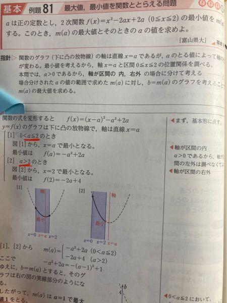 大至急お願いします、!!! 青チャート 数1 81の赤線の部分が分かりません。 なぜ0<a≦2なのでしょうか?? 0<a<2ではないのですか、? また、a≧2ではないのはなぜなのでしょうか ご教授お願いします。