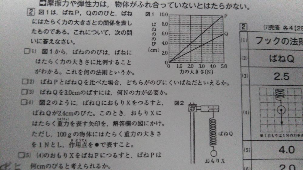 中学理科です。 (4)の考え方で、ばねQを2cm以上伸ばすのに必要な力の大きさはグラフから読み取ると2N以上が必要だから…で正解ですか? あと(5)で、(4)の答えが2Nだからグラフから読み取ると、ばねPの伸びは4cmになる…で考え方あってますか? 不安なので、解答よろしくお願いします!