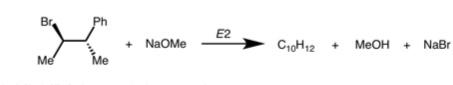 以下の写真のようなE2反応での主生成物はcis体とtrans体どっちになりますか? また、副生成物はいくつありますか? 教えてください!