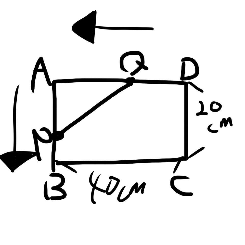 数学です。 写真を見てください。 四角形ABCで、点Pは辺AB上を毎秒1cmの速さで動く。また、Qは点PがAを出発するのと同時にDを出発して辺DA上を毎秒2cmの速さでAまで動く。 AP=xcm...