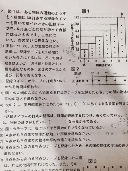 解き方教えてください!!! 3,6,7,8の解き方わかりません。 教えてください! 答えは順に、 32cm/s 55,2cm 92cm/s 176cm/sです。