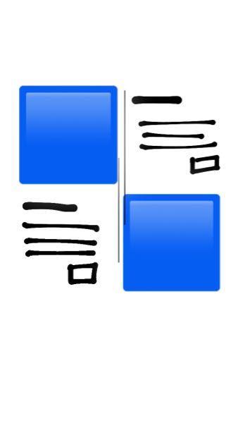 プログラミングについて 画像のように配置したいのですが、( は画像、縦線は配置の目安)どのようにすればよいでしょうか?分かる方ご教授お願い致します!