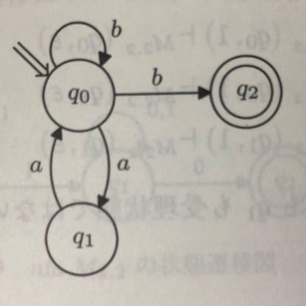 次の非決定性有限オートマトンが受理する言語がどのような言語であるか示しなさい。(写真) 答え {ω|ω∈{a,b}^+,ωは単独のa,および連続する奇数個のaは含まず,bで終わる語} これの解説をお願いします