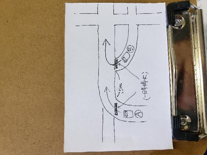 図のような道路で、車両AとBがほぼ同時に一時停止の位置に止まり、両車両とも矢印の方向へ進む場合、どちらの車両が優先ですか?