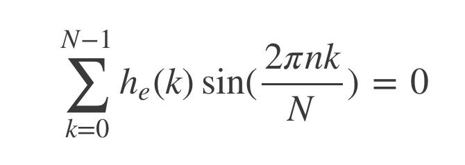 大学数学の質問です。 n,Nを任意な数として、h_e(k)が偶関数であるときこの式が成り立つのはなぜでしょうか。