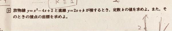 高校数1について 下の問題の解き方が分かりません。 答えは K=-7のとき接点(3、-1) です。よろしくお願いいたします。