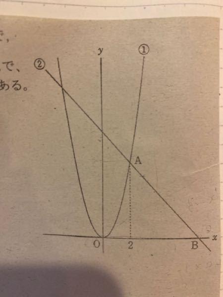 中3数学関数の問題です。 問題 下の図において、①は関数y=2x2乗のグラフで、② は傾きが−1の直線である。点Aは①と②の交点で、そのx座標は2であり、点Bは②とx軸との交点である。 線分OB上に点D(d,0)をとり、点Dを通りx軸に垂直な直線をnとする。この直線nが△OABの面積を二等分するとき、dの値を求めなさい。 この問題の解き方を教えてください。 宜しくお願いします。