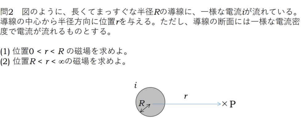この問題が参考書、ネットなどを参考にしてもよく分かりません... どなたか解き方を教えていただけると幸いです。 電流の磁場を求める問題です。