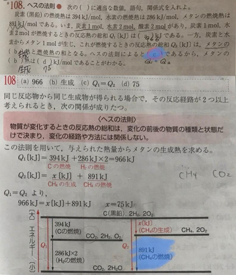 なぜ一緒(Q1=Q2)になるのかがわからないです。 結局これは最終的に何が出来る反応なんですか?? あと、図の(CH4の燃焼)の部分について、、、 この燃焼熱に使われる酸素はその上の(CH4の生成)のところ又は一番上に書かれている2O2のことでしょうか??