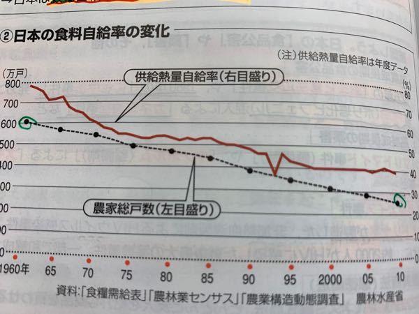 経済分野です。 日本の食料自給率のグラフなのですが、90と95年の間の谷は何があったのでしょうか? 1991からの牛肉とオレンジの自由化が原因かなと思ったのですが、V字回復してるのは何故でしょうか?