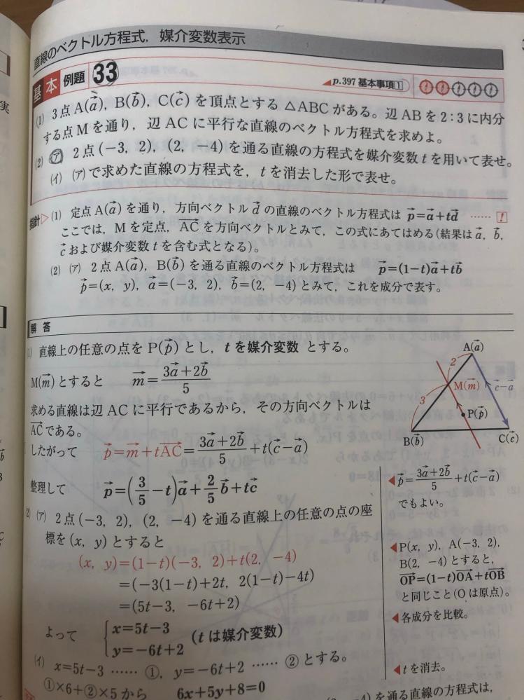 画像問題の(1)についてです。 解答で、 「ACに平行であるから、その方向ベクトルはAC↑である。」とありますが、この方向ベクトルはCA↑としても問題ないですか?